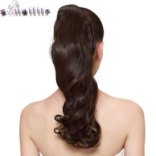 S-noilite 43CM Long Wavy Real Natural Ponytail Clip in Pony tail Hair Extensions Wrap Around on Synthetic Hair Piece for human
