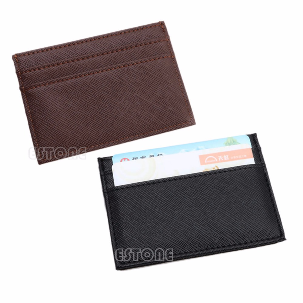 Mens Womens PU Leather Small ID Credit Card Wallet Holder Slim Pocket Case