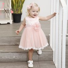Knee Length Cute Lace Flower Girl Dresses 2019 Pink Baby Girls Dresses First Communion Dresses Sash Evening Party Gown cute lovely champagne lace flower girl dresses with pink sash appliqued ball gown party wedding girls dress with train