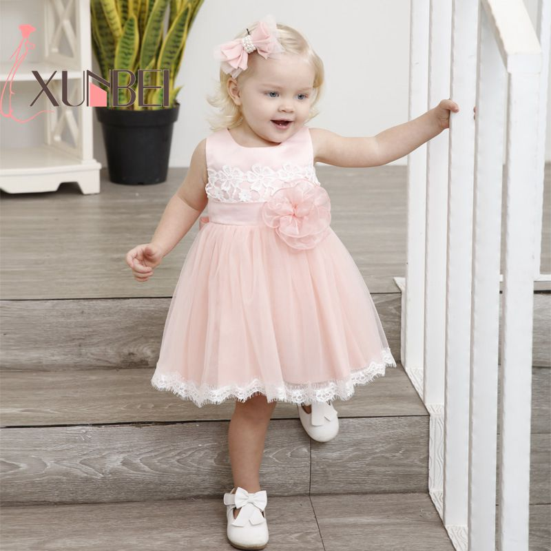 Knee Length Cute Lace   Flower     Girl     Dresses   2019 Pink Baby   Girls     Dresses   First Communion   Dresses   Sash Evening Party Gown