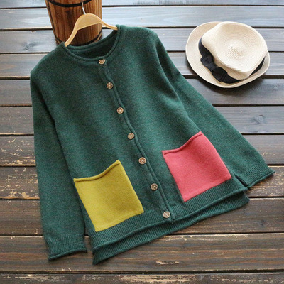 Autumn New Casual Women Embroidered Vintage Loose Cardigan Full Sleeve pocket Cardigan Outwear Coat for Ladies sweater