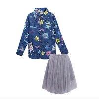 Girls Clothing Sets 2017 New Autumn children's clothing Long Sleeve shirts+Skits 2Pcs for Kids Kids clothing 4 6 7 8 10 12 years