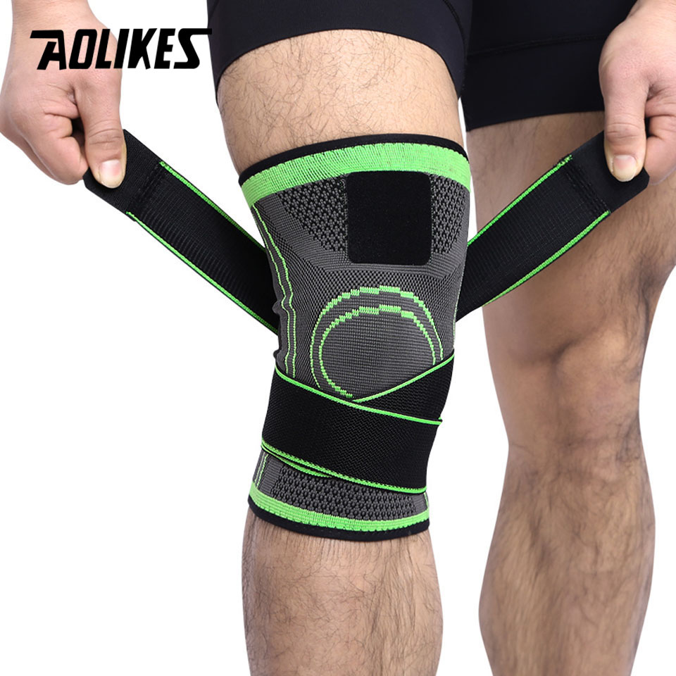 AOLIKES 1PCS 3D Weaving Pressurization Knee Brace Basketball Hiking Cycling Knee Support Professional Protective Sports Knee Pad цена
