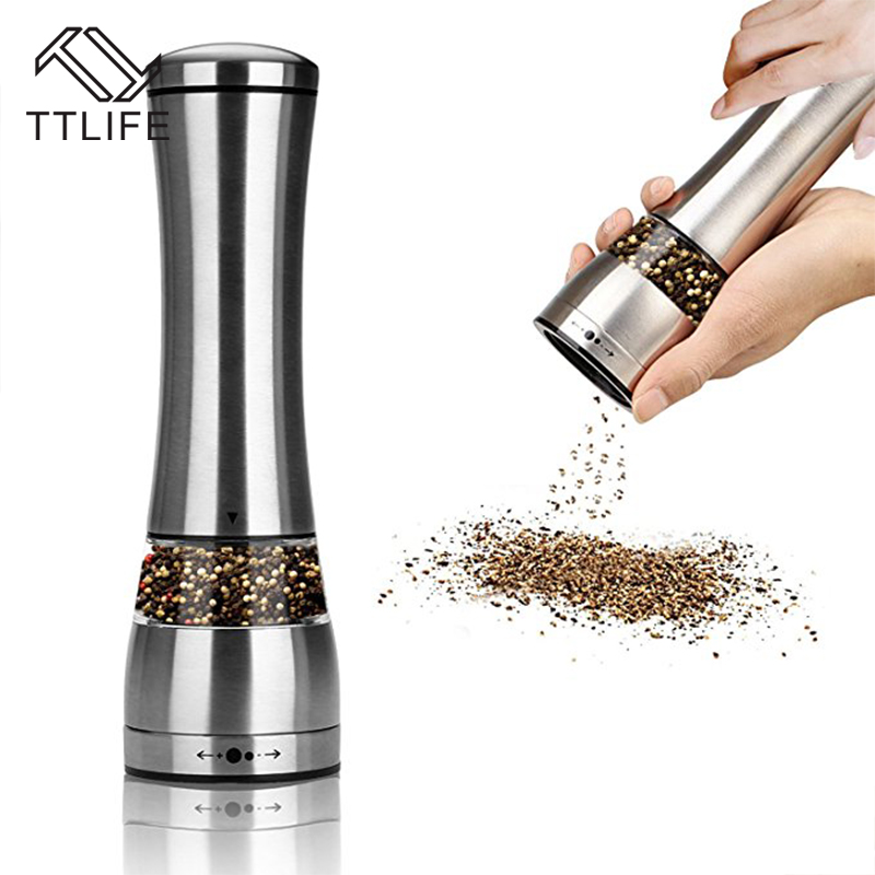 TTLIFE 2 In 1 Stainless Steel Manual Salt Pepper Mill Grinder Seasoning Muller Cooking BBQ Tools Kitchen Spice Accessaries