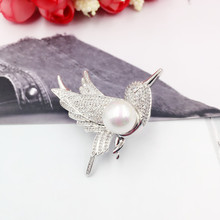 New Luxury Zircon Bird Brooches for Women font b Men b font Female Fashion Simulated Pearl