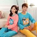 Primavera e outono mulheres cotton pijamas cartoon casal coruja malha coreano de mangas compridas pijamas de mulheres e homens pijamas hombre
