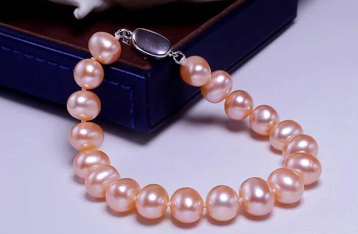 Superbe bracelet rond en or rose perle de 9-10mm de mer du sud