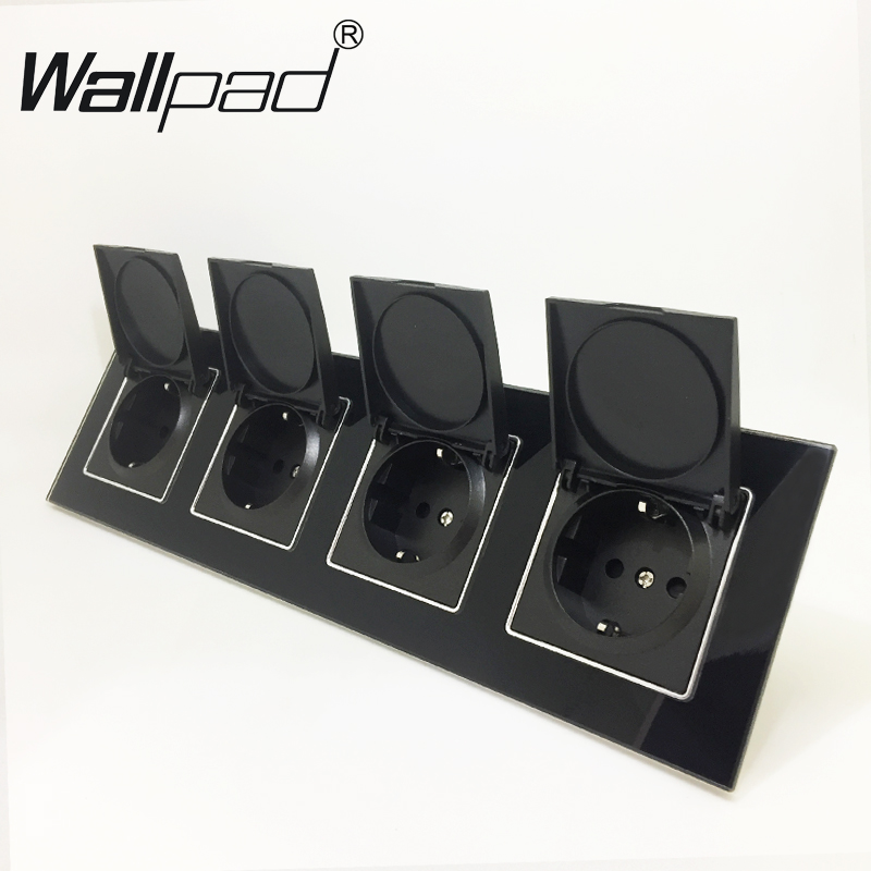Quadruple EU Dust Cap Socket Round Box Mount CE Wallpad Luxury Black Crystal Glass 4 Way Frame 16A EU Schuko Outlet with ClawsQuadruple EU Dust Cap Socket Round Box Mount CE Wallpad Luxury Black Crystal Glass 4 Way Frame 16A EU Schuko Outlet with Claws