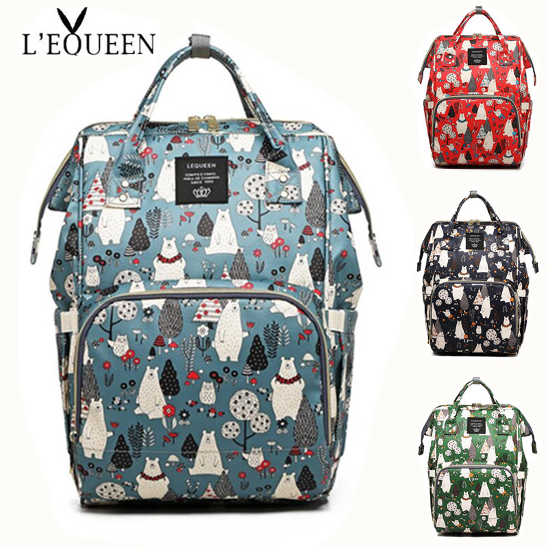 LEQUEEN Diaper Bag Mini Bear Hand Painted Cartoon Waterproof Nappy Bag Baby Care Travel Backpack Maternity Bag