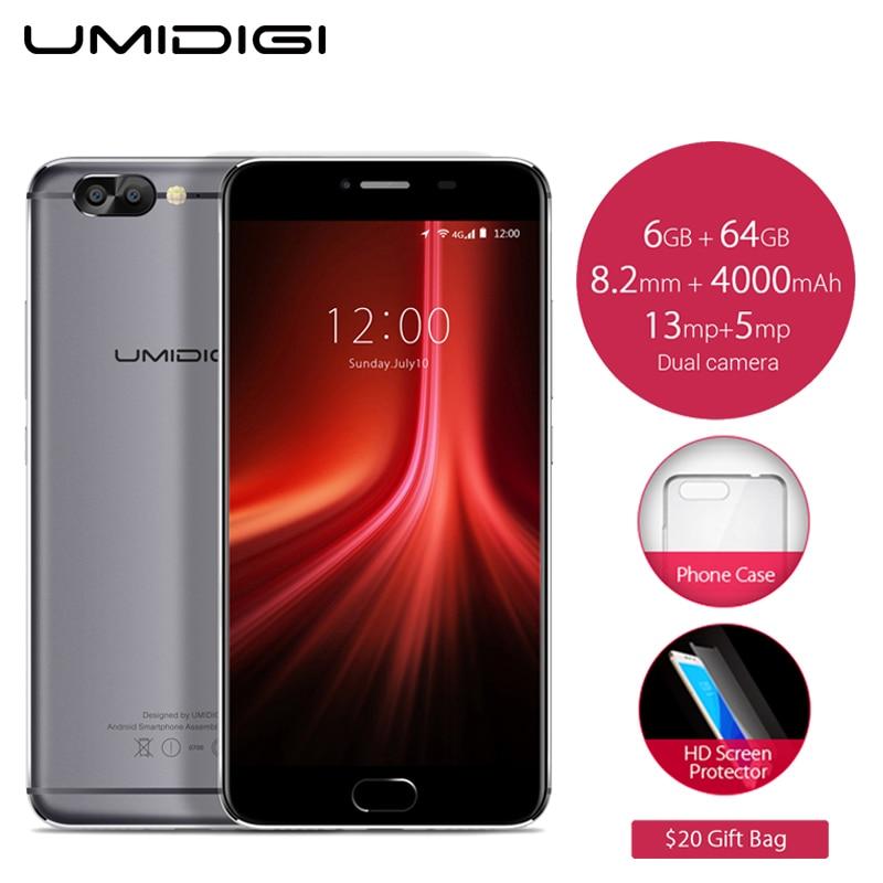 Original UMIDIGI Z1 Cell Phone 5.5 inch FHD Screen 6GB RAM 64GB ROM MTK6757 Octa Core 4000mAh Android 7.0 4G LTE Smartphone