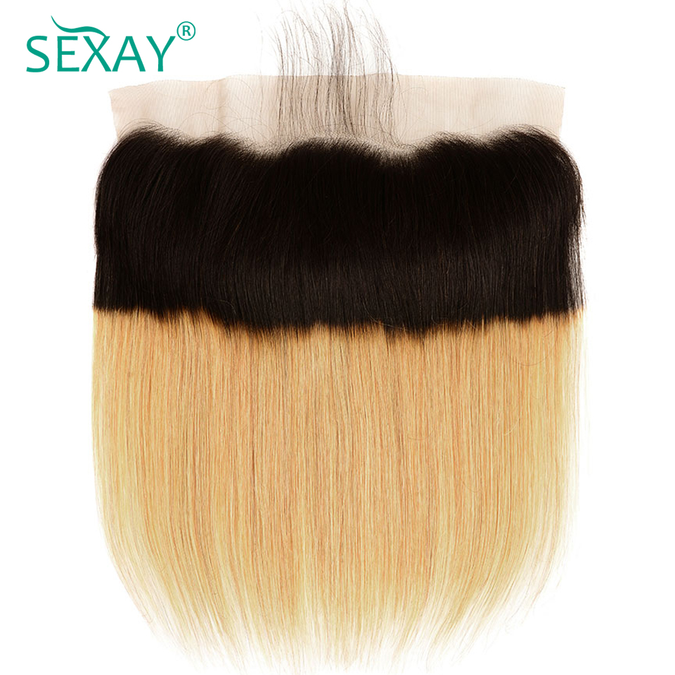 13x4 Lace Frontal Closure With Baby Hair SEXAY Brazilian Straight Hair Ombre Blonde Human Hair Ear To Ear Frontals Non Remy Hair