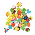 New Arrival 48pcs Colorful Wooden Cartoon Refrigerator Magnets for Children Various Shapes and Colors