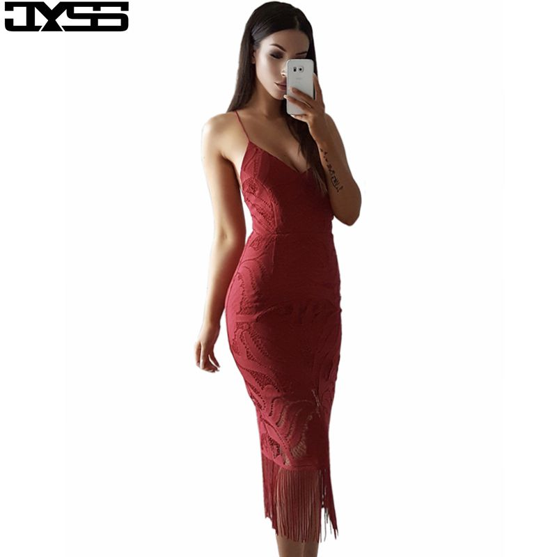 better aliexpress wholesale price JYSS new sexy V neck pure color women party dresses Slim tassels ...