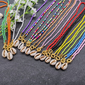 JCYMONG 17 Color Bead Choker Necklace For Women Bohemian Shell Cowrie Pendant Necklace Female Fashion Beach Collier Jewelry 2019(China)