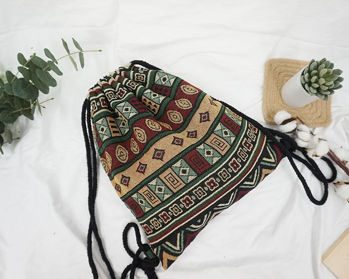 HTB1M.FLdTJYBeNjy1zeq6yhzVXaY LilyHood Women Fabric Backpack Female Gypsy Bohemian Boho Chic Aztec Ibiza Tribal Ethnic Ibiza Brown Drawstring Rucksack Bags