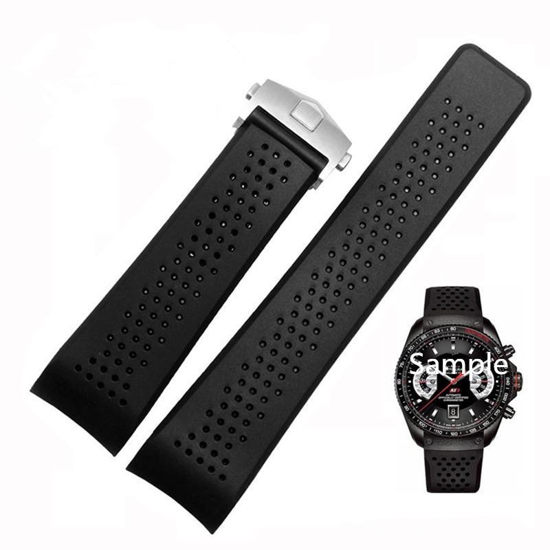 TJP Luxury brands 22mm 24mm Black Silicone Rubber Watch Strap Bracelet TAG Watchbands Heuer Carrera With Deployment Clasp Buckle tjp brands silicone rubber watch strap 22mm 24mm black watchbands bracelet for breitling nnavitimer avenger wristband