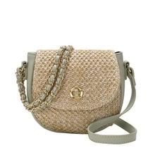 Summer Ladies Straw Bag PU Fur Woven Stitching Chain Shoulder Bags Fashion Wild Travel Beach New Lady Crossbody