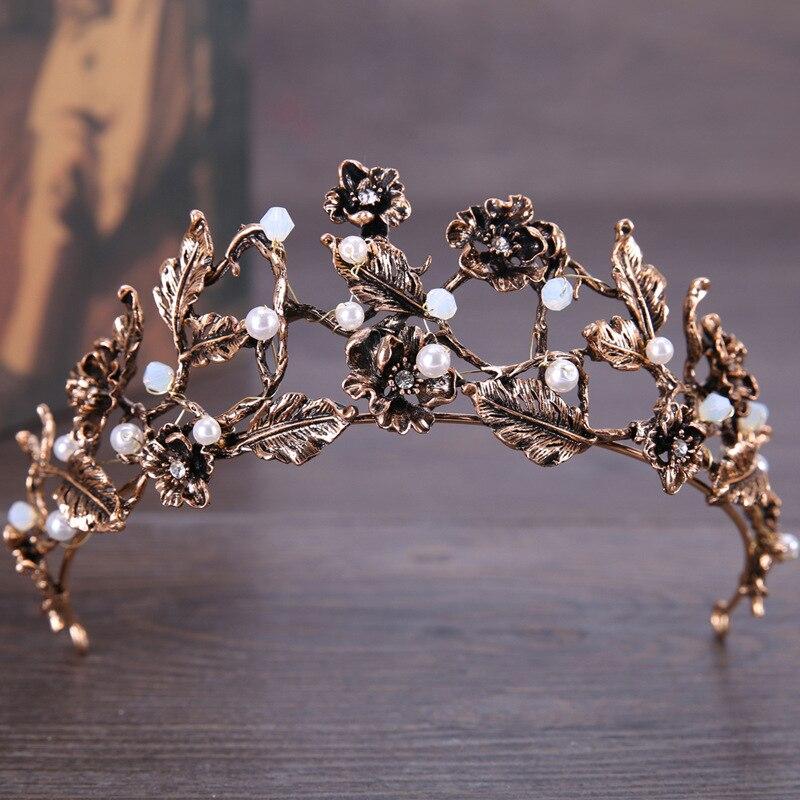 Bridal crown wedding tiaras bride hair ornaments flower boutique vintage crown headwear handmade Baroque hair jewelry