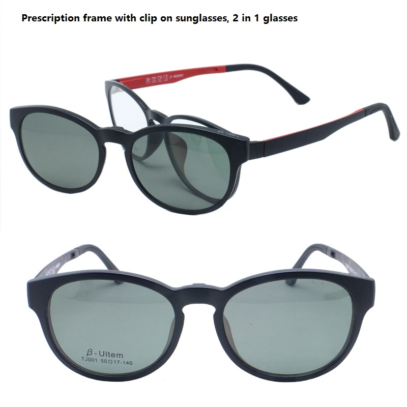 0267ddce0db3 classic 001 ULTEM wayframe shape optical glasses frame with magnetic clip  on polarized sunglasses lenses handy