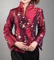 Бургундия Vintage Китайских женщин Шелковый Атлас Вышивка Куртки Пальто Мухерес Chaqueta Длинным Рукавом Размер S, M, L, XL, XXL, XXXL Mny05-E