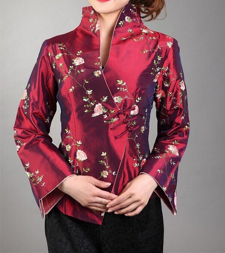 Borgoña mujeres Chinas de Satén de Seda Bordado Chaqueta de la Capa Mujeres de L