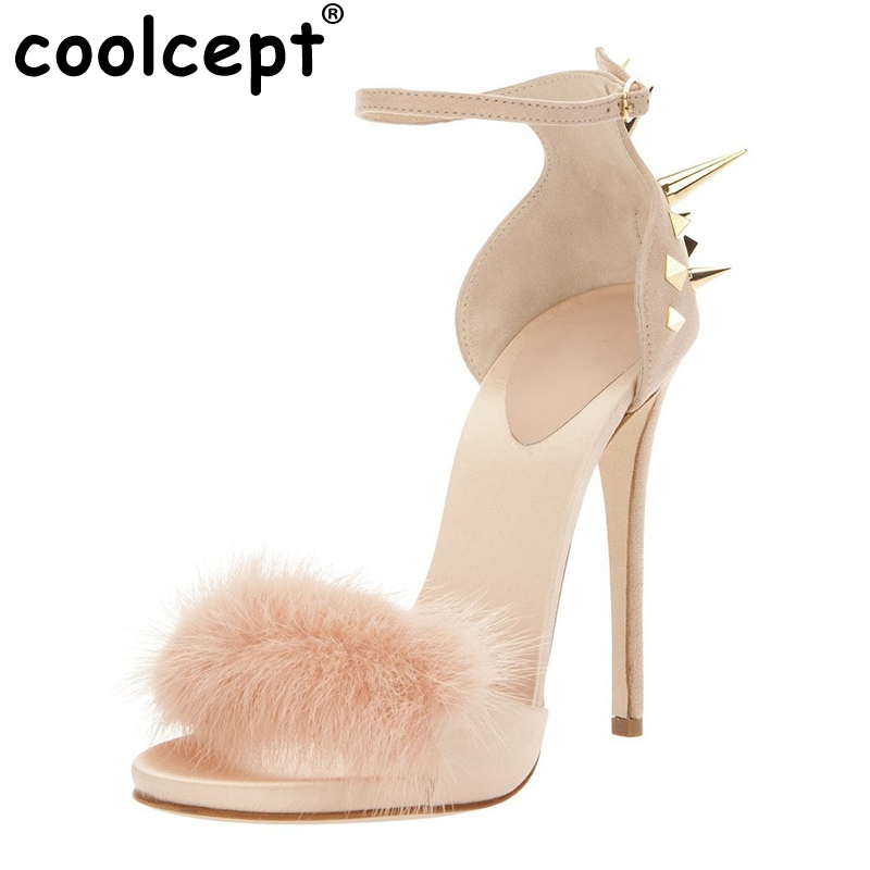 ФОТО Size 35-46 Women Sandals Rivets Feathers Peep Toe Thin Heels Buckle Strap Sandals Shoes Woman Plus Size Can be Customized B045