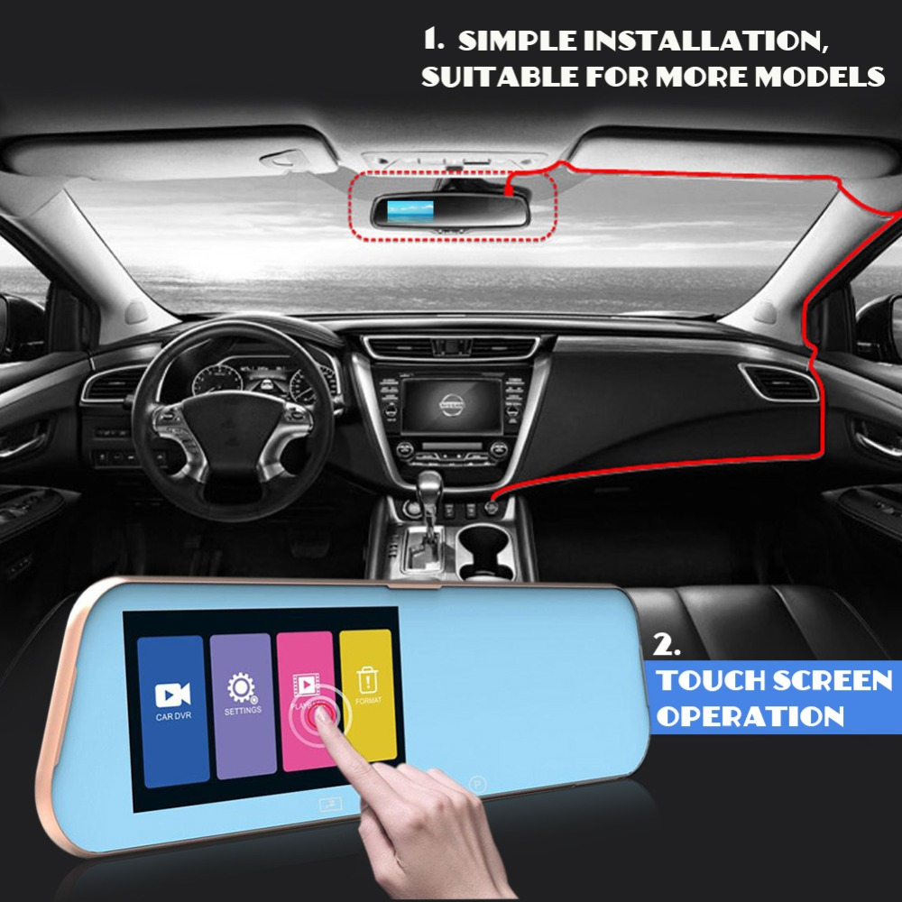Vehemo Full HD 1080P Car DVR Dual Lens Car Camera Video Recorder Rearview Mirror With Rear view DVR Dash cam Touch Screen цены онлайн