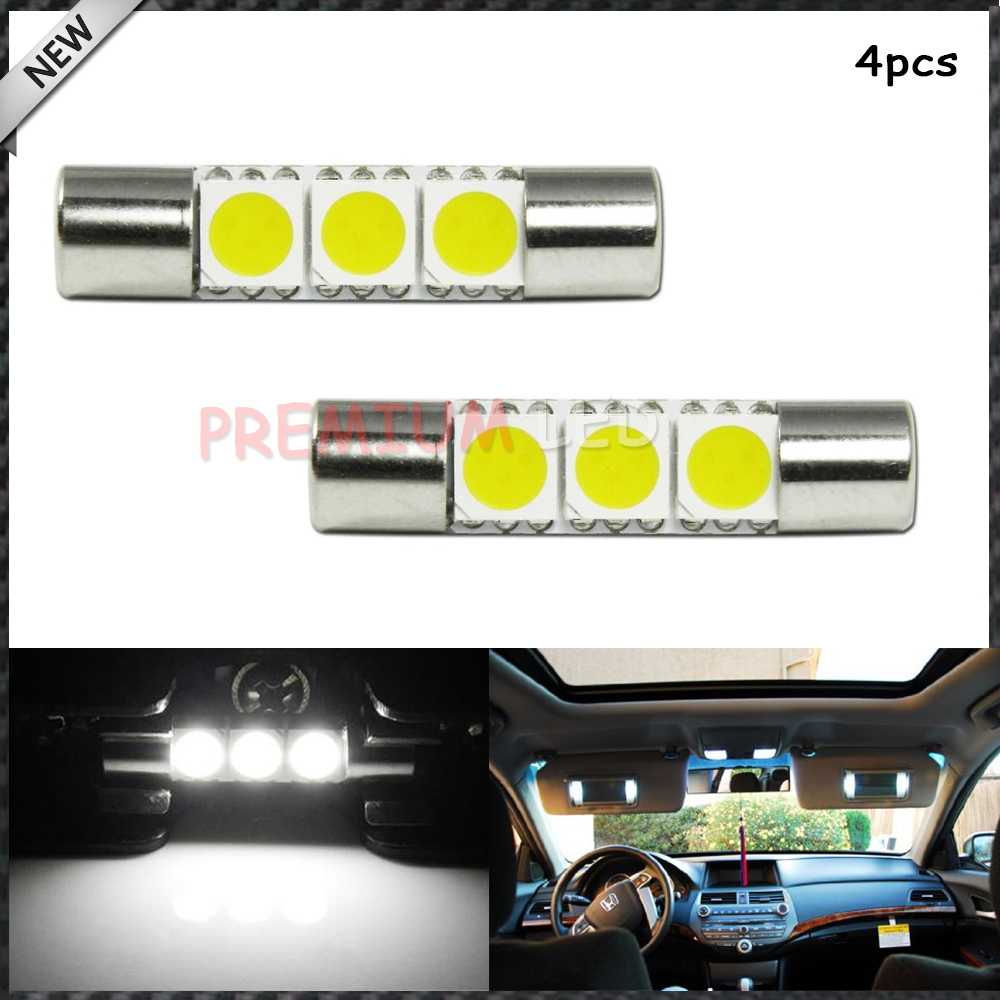iJDM 4pcs Xenon White 29mm 3-SMD 6641 Festoon LED Replacement Bulbs For Car Vanity Mirror Lights Sun Visor Lamp 4pcs set smoke sun rain visor vent window deflector shield guard shade for hyundai tucson 2016