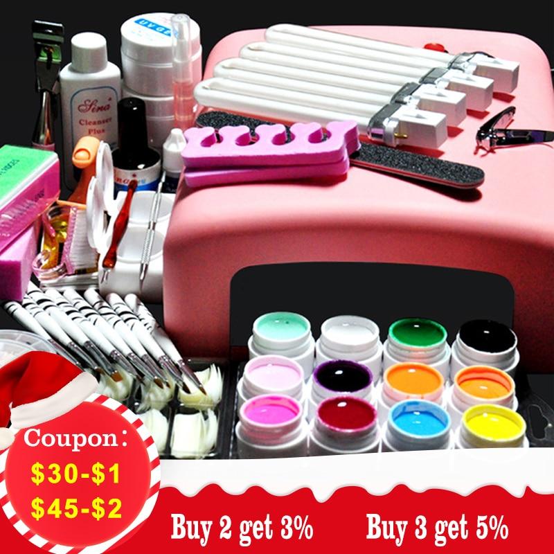 Biutee 36W UV GEL Pink Lamp Dryer + 12 Color UV Gel Nail Art Kits ...