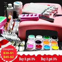 Biutee 36W UV GEL Pink Lamp Dryer + 12 Color UV Gel Nail Art Kits Sets Soak Off Gel Practice Set File kit Nail Art Manicure Tool