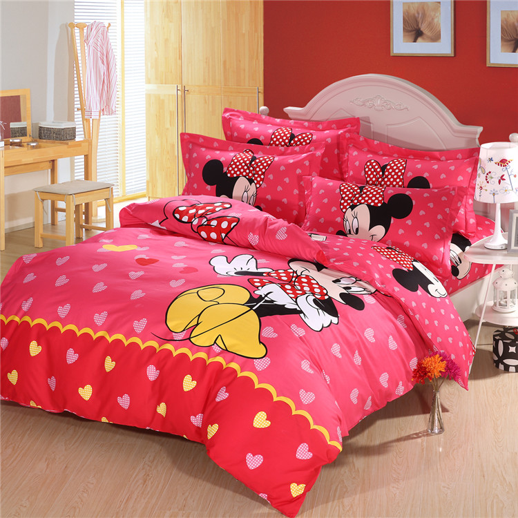 Top Queen Size Mickey Mouse cama, Minnie Mouse conjuntos de cama, Define capa de edredom para o ...