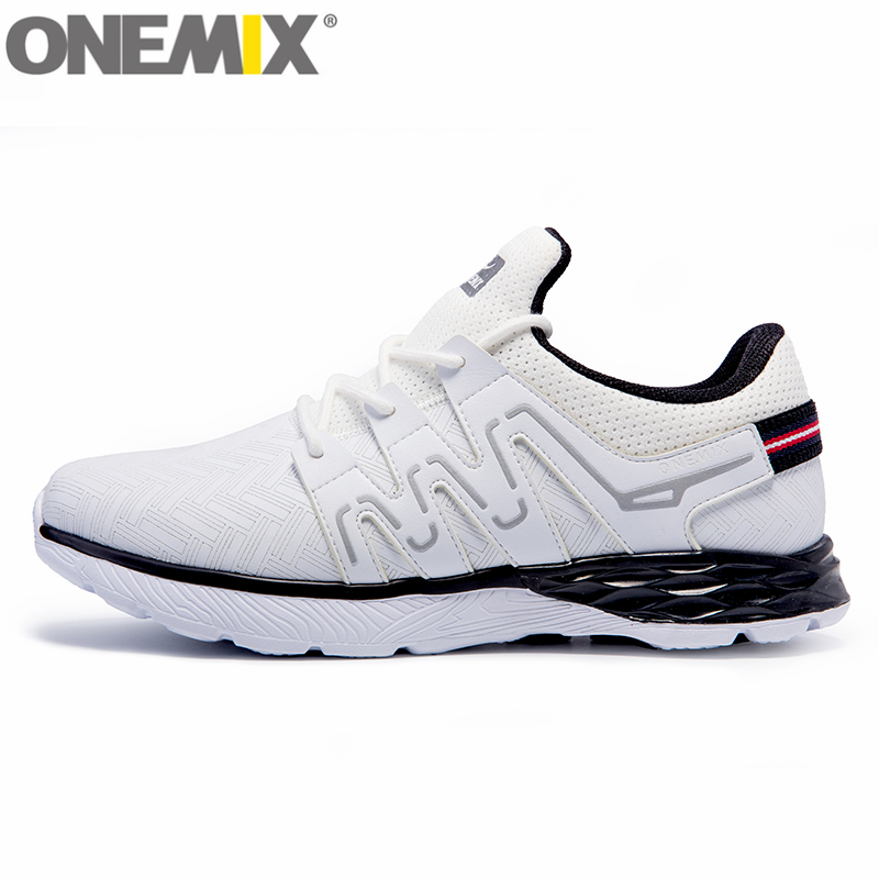 New onemix Men Running Shoes Nice Run Athletic Trainers Women White Black Zapatillas Sports Shoe Cushion Outdoor Walking Sneaker vik max athletic shoe women tricot lined figure ice skates shoes