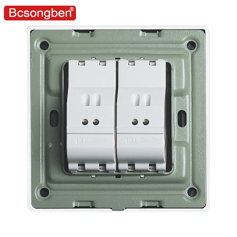 Bcsongben 2 Gangs Wall Dual Telephone Socket Outlet Wood Grain Material Weak Electricity Without Plug Adapter In Electrical Sockets From Home