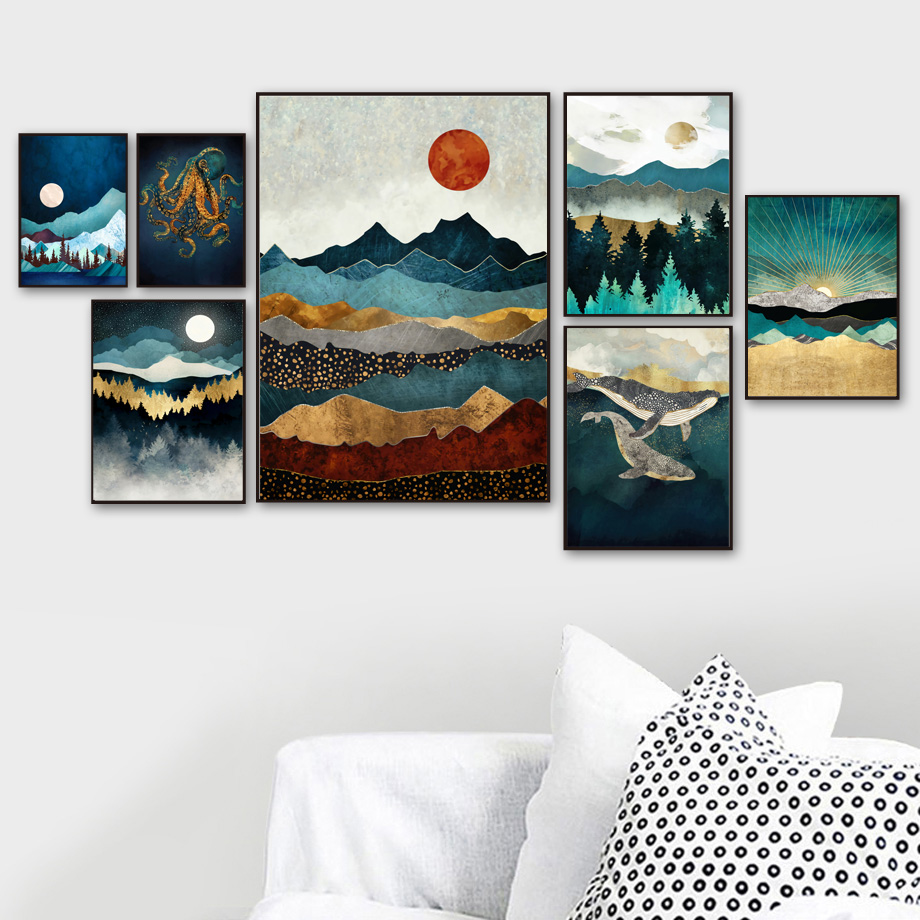 Moon Sun Mountain Whale Jellyfish Octopus Poster And Prints Wall Art Canvas Painting Pictures For Living Room Home Decor