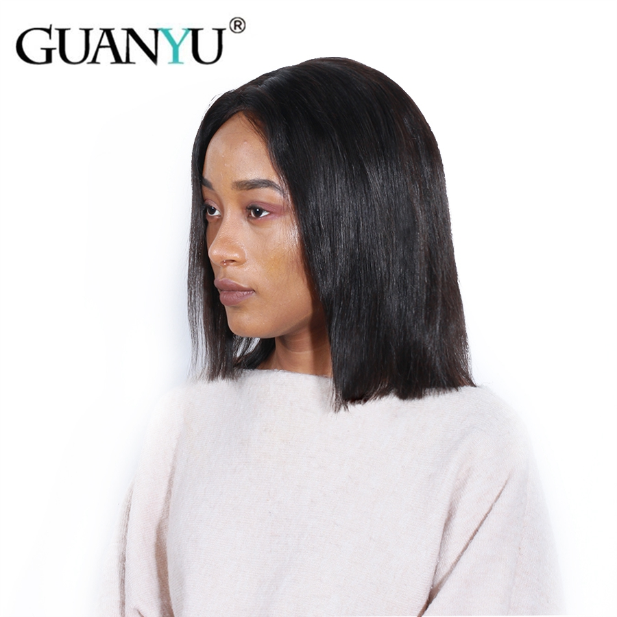Lace Front Wigs Brazilian Straight Human Hair Lace Front Wigs Short Bob Wig With Baby Hair Natural Black Lace Front Wig Full End Remy Human Hair