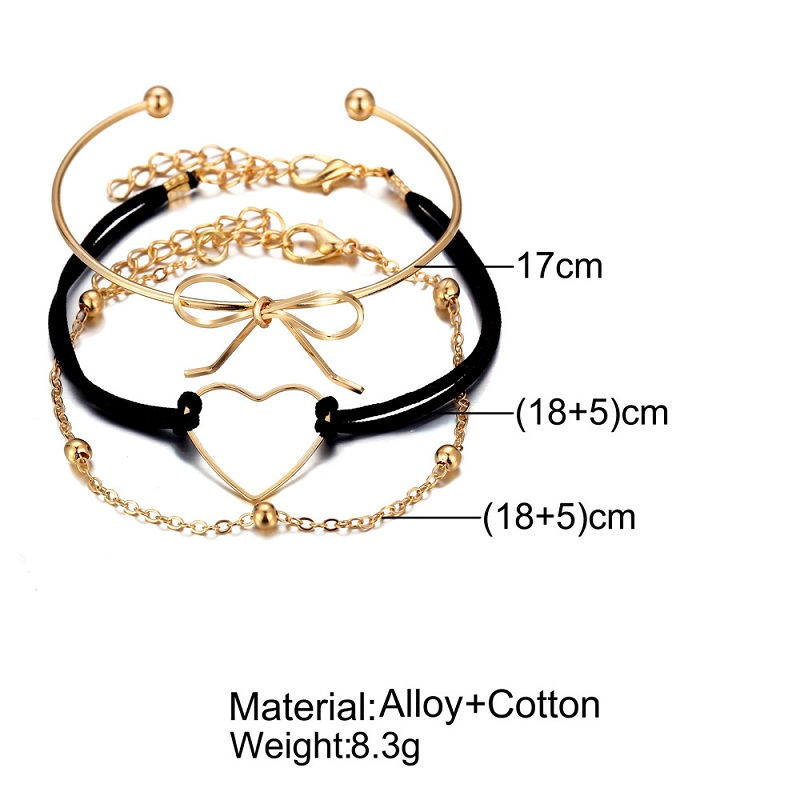 Hollow Heart Bow Multilayer Bracelets for Women Girl Beads Pendant Bangle Cuff Wedding Bride Jewelry Gift in Chain Link Bracelets from Jewelry Accessories