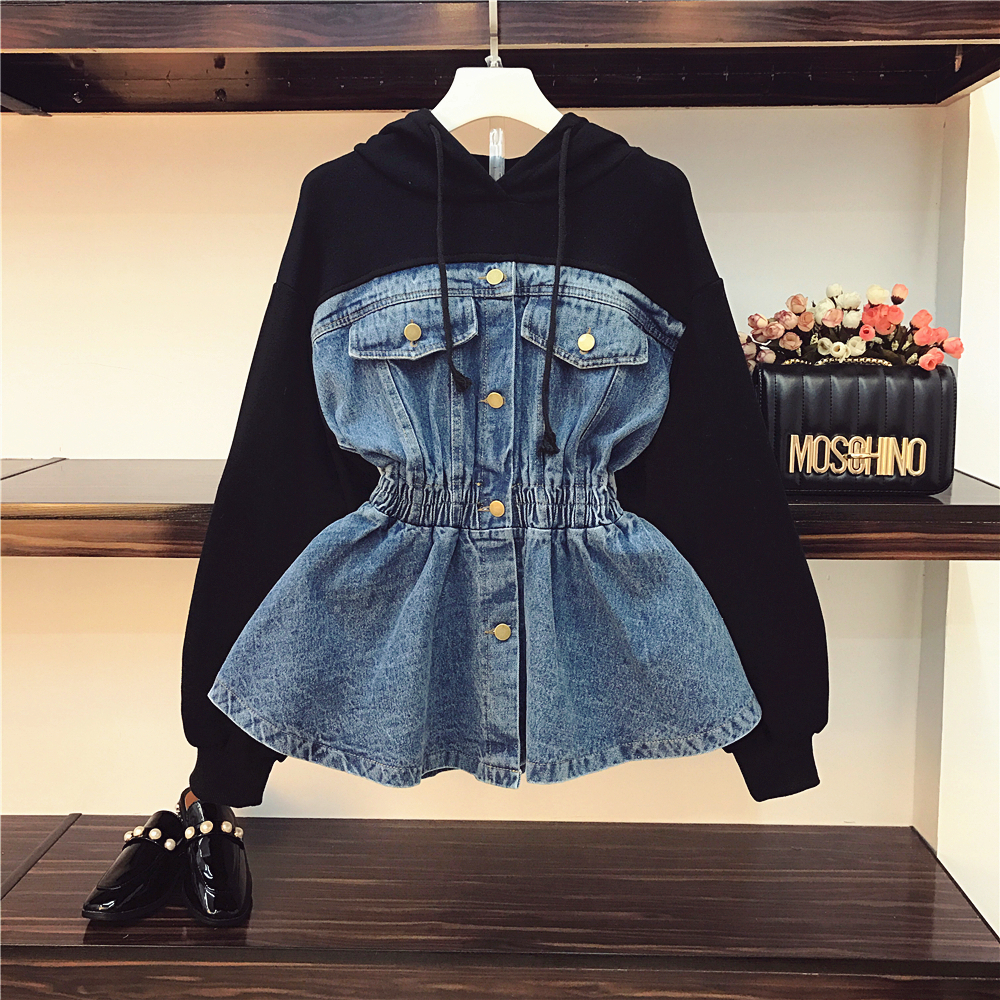 M 4XL 2019 New Spring Fashion Women's Denim Stitching Hoodie Students Casual Hit Color Loose Jeans Sewatshirt Coat Denim Hoodies