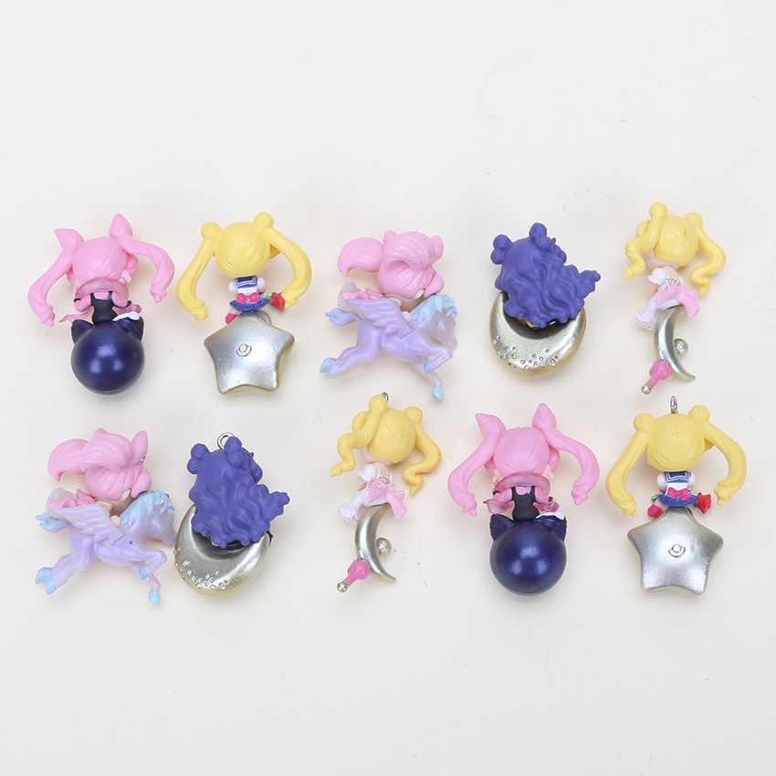 5 pçs/set 5cm twinkle dolly anime sailor moon mini brinquedos pvc figuras collectible modelo brinquedos bonecas pingentes presente das crianças