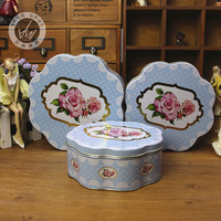 Beautifully Fine First class Splendidly Super floral pattern tin baking biscuit plum flower shape tinplate candy boxes 3 in 1set