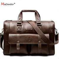 MaDonNo' High grade Genuine Leather handbag Business briefcases Large Capacity Bag Travel bags