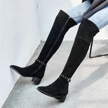 Купить с кэшбэком NAYIDUYUN    Thigh High Boots Women Cow Leather Pointed Toe Over The Knee Boots Slim Leg Low Heel Party Oxfords Black Snow Boots