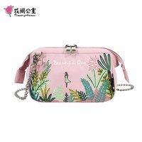 Flower Princess 2019 Summer Embroidery Crossbody Bag Nylon Women's Messenger Bag Mini Chain Shoulder Bag Teenage Girl Handbags