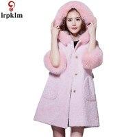 Для женщин длинные Шерстяное пальто зимние парки для дамы с капюшоном меховой воротник куртки Европа женский пальто плюс Размеры Костюмы