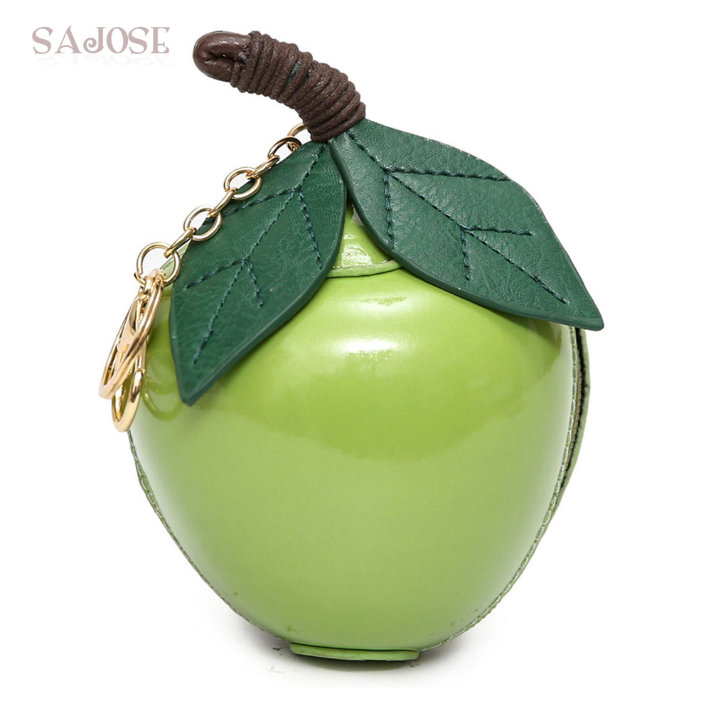 Women Fashion Leather Bags Designer Classic Cute Girl Evening Package Green Small Leaf Apple Clutch Bag