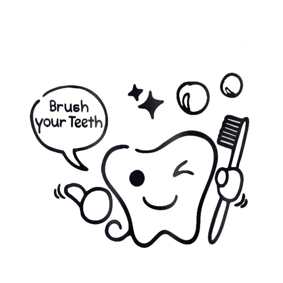 Cepillarse los dientes de bricolaje etiqueta pegatinas Aseo pegatinas de pared p
