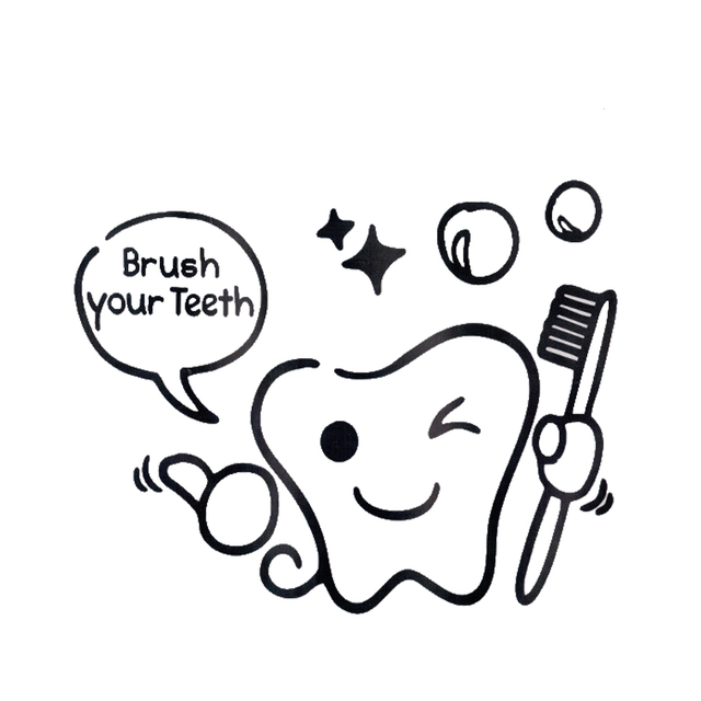 Diy Brush Your Teeth Sticker Toilet Stickers Wall Stickers For Kids