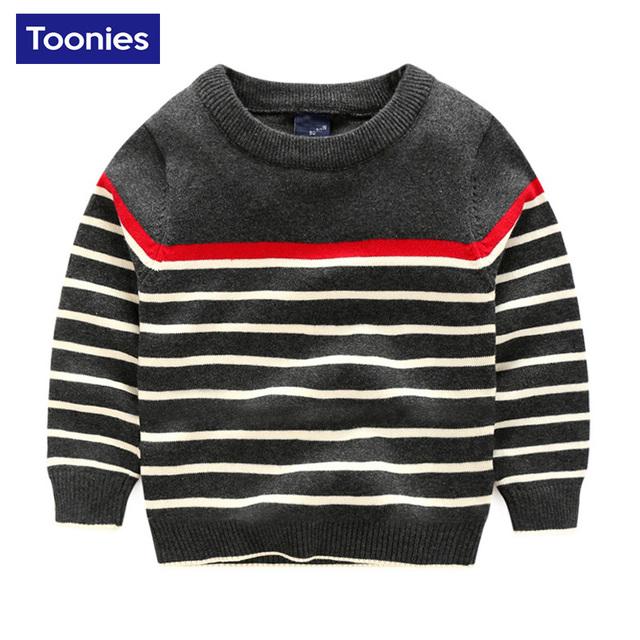 Venta caliente de La Manera Marca de ropa Para Niños Chicos Suéter de Alta Calidad de Algodón A Rayas Suéter de Otoño Primavera O-cuello Suéter de Los Cabritos