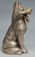 Collectible Decorated Miao Silver Carved Wolf Dog Statue