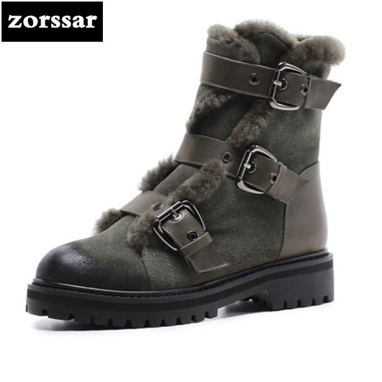 {Zorssar} 2018 Large size Women Boots Winter cow Suede Ankle Snow Boots Female Warm Fur Plush Insole High Quality Botas Mujer zorssar 2019 women s shoes winter plush women snow boots cow suede leather flat ankle boots female warm fur insole botas mujer