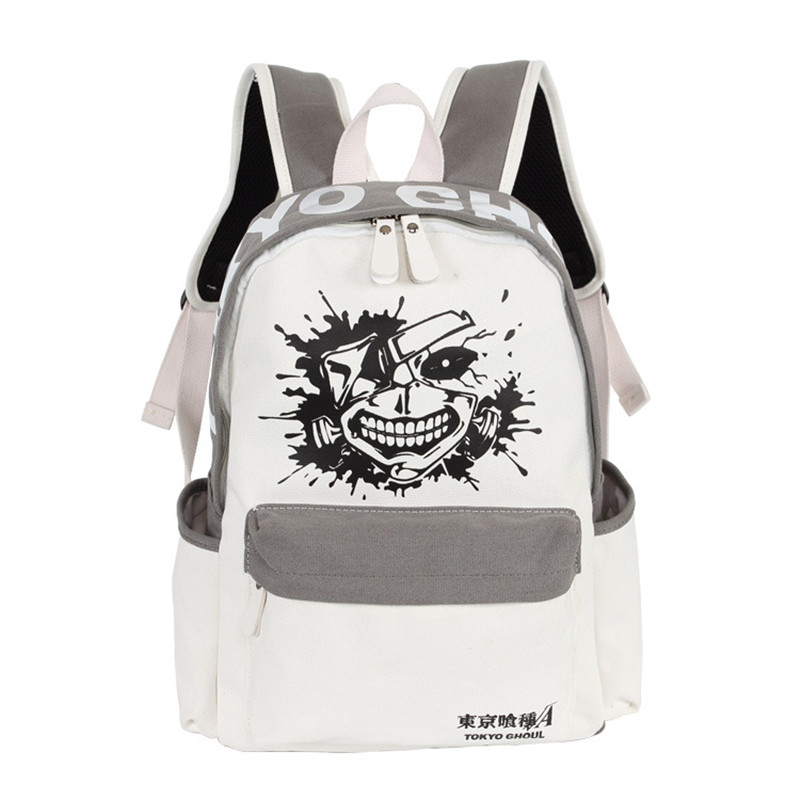 Fashion Men Women Boy Girls Japan Anime Tokyo Ghoul Kaneki Ken Book Bag White Gray Color Mixed Backpack Mochila Student Travel